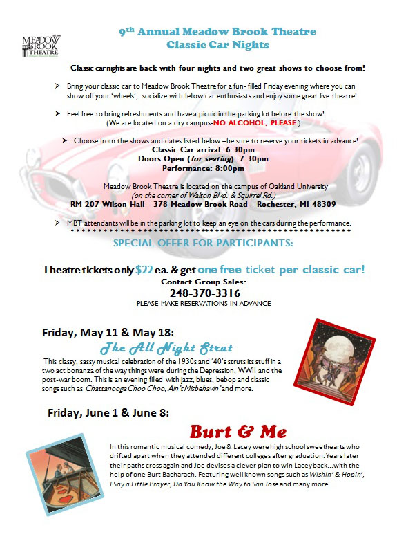 Meadow Brook Theatre Classic Car nights